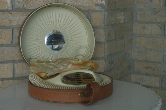 Vintage Hair Dryer 50s Bettina Universal in Cool Brown Faux Alligator Case with Mirror  Striped Plastic Head Cover