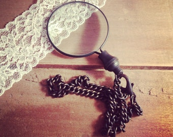 1 - Dark Vintage Monocle Magnifying Glass Pendant Charm REALLY WORKS  Vintage Style Jewelry Supplies  (BA010)