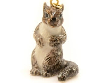 1 - Porcelain Squirrel Pendant Animal Hand Painted Glaze Ceramic Animal Ceramic Squirrel Vintage Jewelry Supplies Little Critterz (CA061)