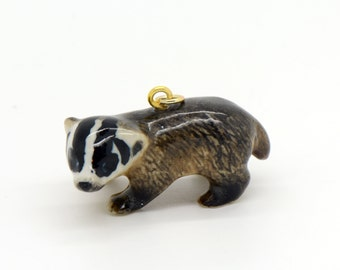 1 - Porcelain Badger Pendant Hand Painted Glaze Ceramic Animal Small Ceramic Badger Bead Jewelry Supplies Little Critterz Porcelain (CA152)