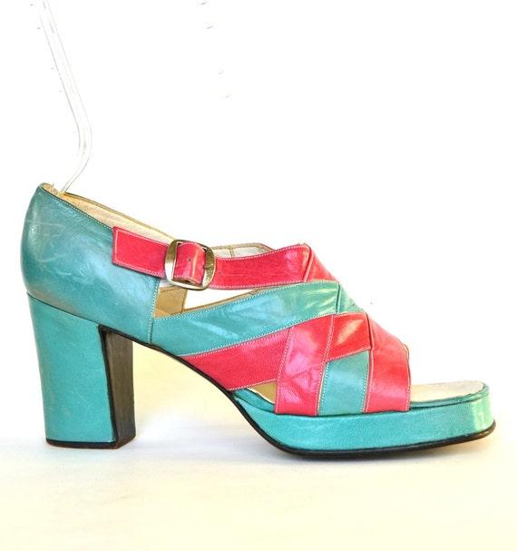 vintage 60s platform heels 8 vtg 1960s blue by starletsvintage