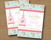 Shabby Cottage Chic Baby Shower Invitation | BLUE Shabby Floral | Bird Cage Silhouette | DIY PRINTABLE | Scripture, Bible Verse Invitation