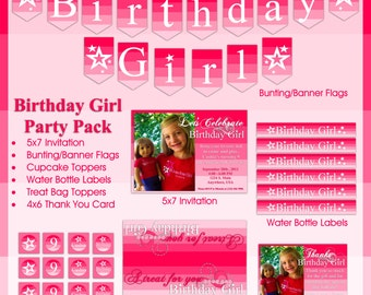 American Girl Inspired Birthday Party Pack - Invitation, Banner/Bunting, Cupcake Toppers,  Water Bottle Label, Treat Bag Top, Thank You Card