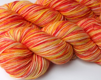"Kettle Dyed Sock Yarn, Superwash Merino and Nylon 75/25 Fingering Weight, in ""Liquid Sunshine"""
