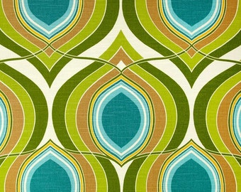 Teal,Turquiose, Lime Green, Yellow and Ivory Geometric Pillow Cover in designer HGTV fabric