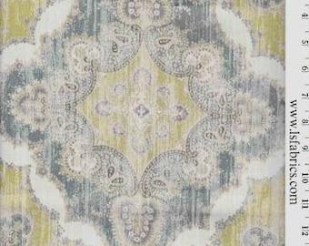 Blue, Citron and White Ikat Curtain Panel / Custom drapery in Designer Fabric Zole Marine