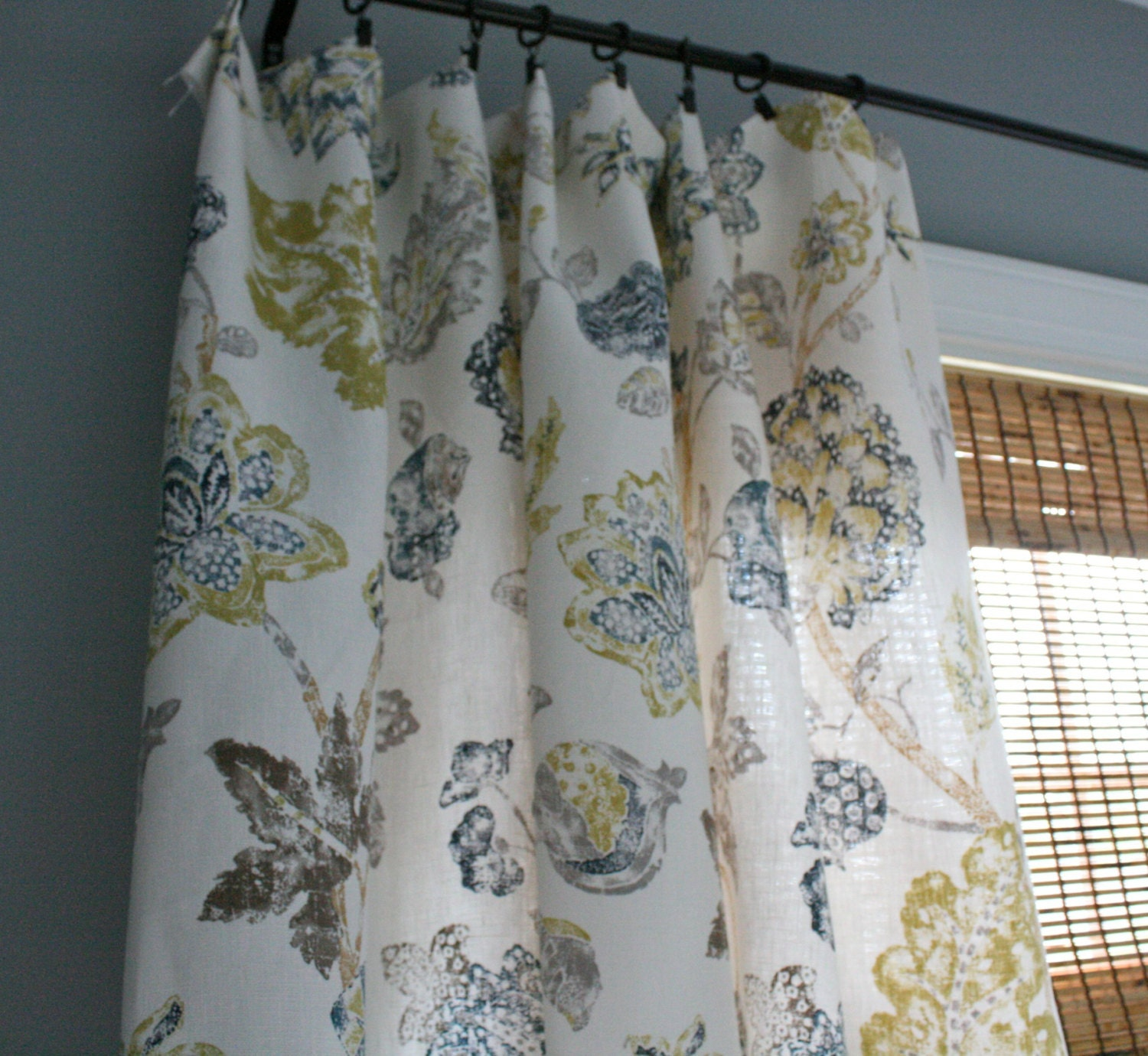 Slate Grey Gold And Creme Floral Curtain Panel / By
