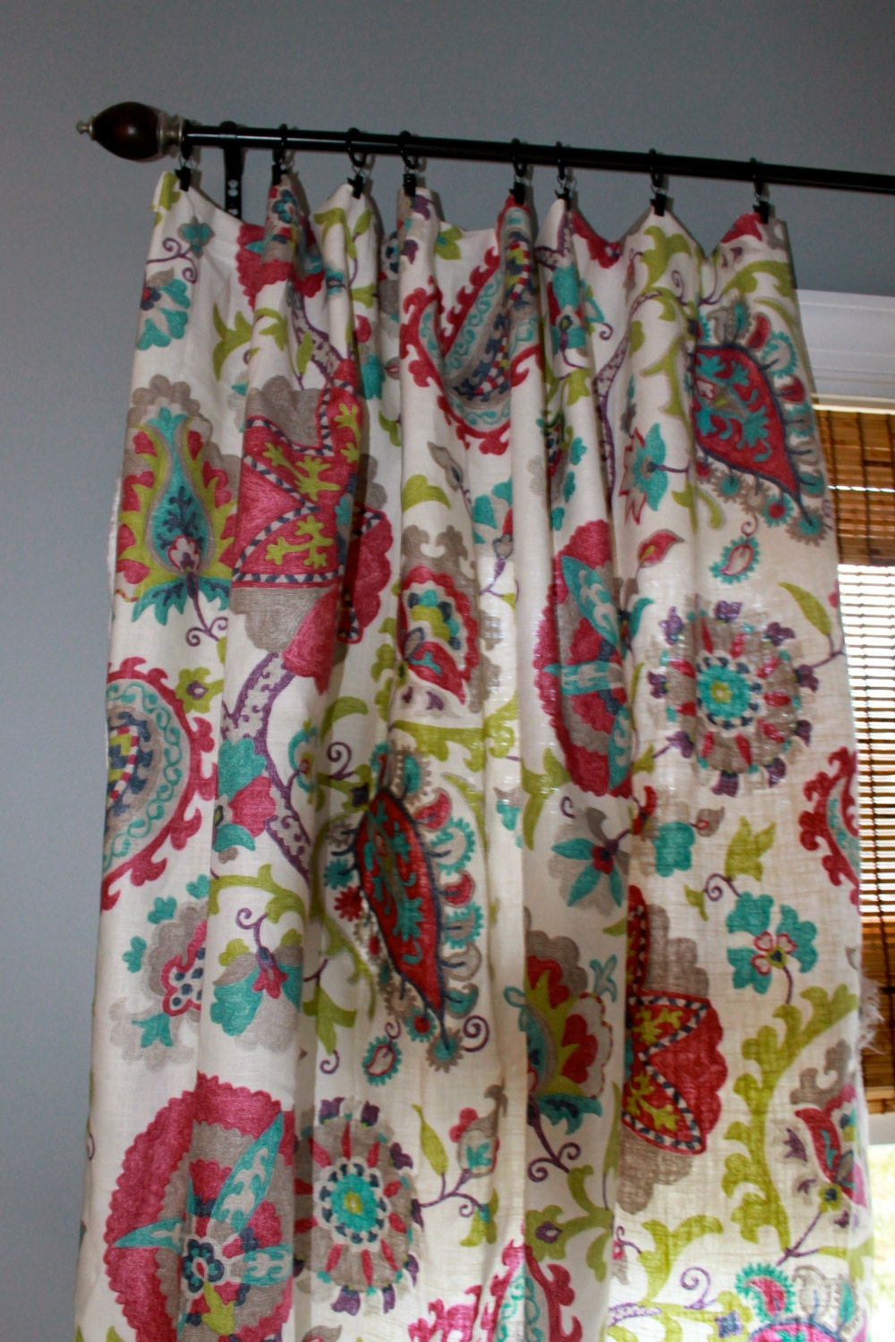 Magenta Teal Grey Green And Ivory Floral Curtain By StitchandBrush