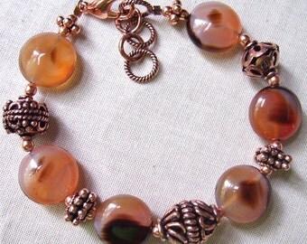 Unusual Agate and Genuine Copper Bracelet