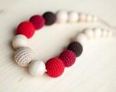 Teething necklace / Crochet nursing necklace - Brown, Red, Beige, Gradient