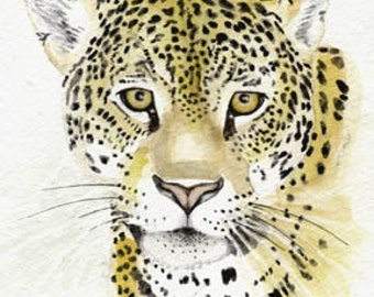 Leopard, 5x7 PRINT from original watercolor painting, leopard, big cats, art & collectibles earthspalette