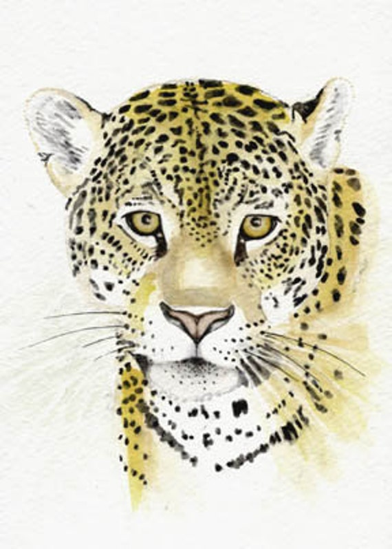 Watercolor painting leopard portrait 5x7 original painting exotic endangered species lions tigers big cats earthspalette