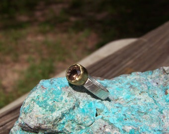 Tourmaline sterling silver and 18k gold ring