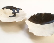 SALE! 25% OFF -- Matte White and Chocolate Brown Shell Plates (A28&29)