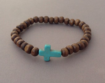 Dark Brown Bead Turquoise Sideways Cross Bracelet