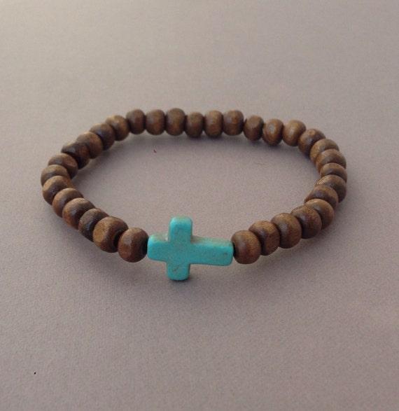 Dark Brown Bead Turquoise Sideways Cross Bracelet