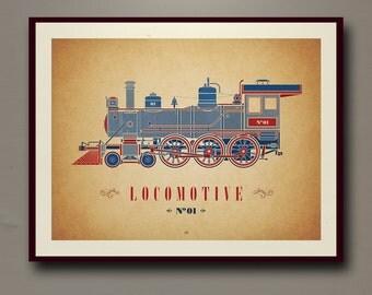Locomotive No. 01 Print | 24 x 18  | Digital, Wall Decor, Poster Print, Modern Vintage