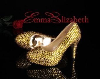 Gold Embelished Crystal Luxury Pumps