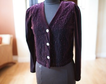 Women's Vintage Purple Velour Jacket