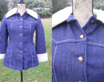 Vintage Jean Jacket 1970's Shearling Lined Denim Winter Coat Mackintosh Hip Length Outerwear Small Extra Small Sale