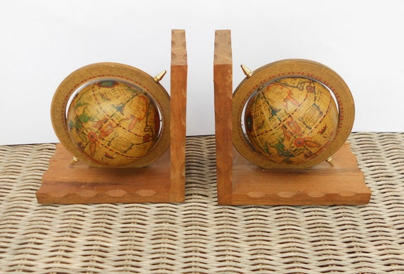 Vintage Globe Bookends Wooden Old World Office Decor
