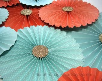 10pc Aqua Coral Gold Rosettes, Paper Fans Wedding, Pinwheel Backdrop Decor/Paper Rosettes, Candy Buffet Decorations