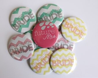 Bachelorette Party Buttons - Chevron - Bachelorette Party Favors - Bachelorette Party - Bachelorette Buttons - Bride Tribe - Wedding Favor