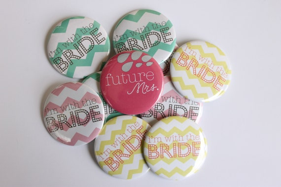 wedding party gifts bridesmaids, bachelorette party, bridesmaids buttons, wedding gift ideas, custom buttons, chevron, bride tribe