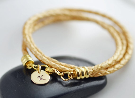 Personalized gold leather cord wrap bracelet with 14k gold initial disc, womens personalized leather bracelet, womens jewelry