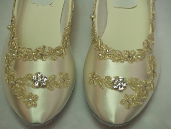 Bridal wedding flats ivory w gold lace applique wedding in ivory