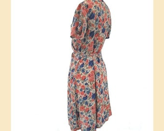 Vintage 1990s dress, wrap-over style in floral rose printed crepe with v-neck and short sleeves, UK size 12