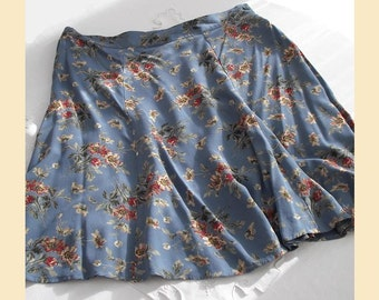 Vintage 1990s skirt by Laura Ashley, flared style with floral print on grey-blue crepe, UK size 14