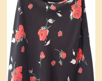 Vintage 1990s skirt in floral print with red roses on black satin by St Michael, UK size 12