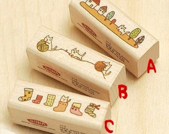 ON SALE - A Piece of Zakka Wooden Stamp - Little Cats (3 versions)