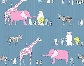 Menagerie in Blue Giraffes, Zebras, Elephants - A-7359-B - Za Za Zoo by Creative Thursday for Andover Fabrics - 1/2 Yard