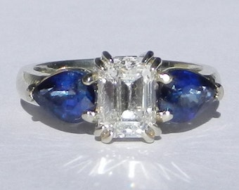 GIA Certified Natural 2.75 Carat Diamond & Sapphire Engagement Ring 18kt White Gold