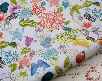WF061  - 1/2  yard Vinyl Waterproof Fabric - Leaf  butterfly and flower( Beige background)
