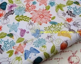 WF061  - 1/2  yard Vinyl Waterproof Fabric - Leaf  butterfly and flower( Beige background)