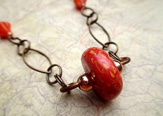 SALE Neon Orange Bead Necklace Beaded Jewelry Handmade Upcycled Short Boho Antique Bronze Copper