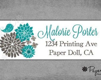 Address Labels - Grey and Teal Mod Flowers with Bird - Stickers
