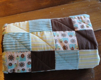 Trucks on a Patchwork Flannel and Minky Baby Quilt.  Designer Fabric. So soft, Beautiful Colors,  Aqua, Brown, Green and White