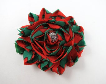 Red and Green Flower Hair Bow - Christmas Hair Clip - Red and Green - Flower Hair Bow - Shabby Hair Clip - Infant Toddler Teenager Hair Clip