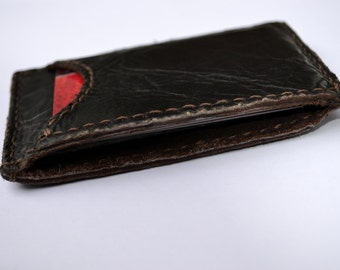 Dark brown minimalistic leather wallet with 3 pockets - Hand stitched