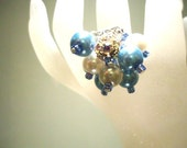 Ring Ice Blue White Pearl and Aurora Borealis size O Crystal Cocktail by JulieDeeleyJewellery on Etsy
