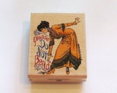 Do not bend rubber stamp Victorian woman dress please do not bend Package stamp