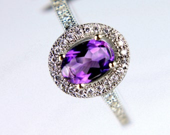 Captivating Genuine African Amethyst in a Glowing Accented Halo Sterling Silver Setting