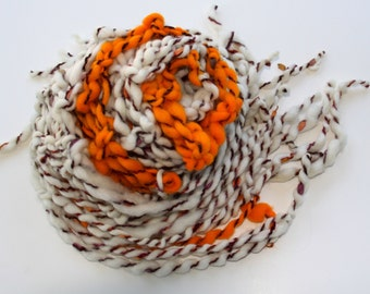 Hand Knit Bulky Scarf, Pumpkin, Ivory and Orange and more, of Super Soft Handspun Hand Dyed Bulky Yarn