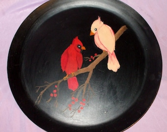 Handpainted Metal Tray Cardinal Birds Vintage Home Decor