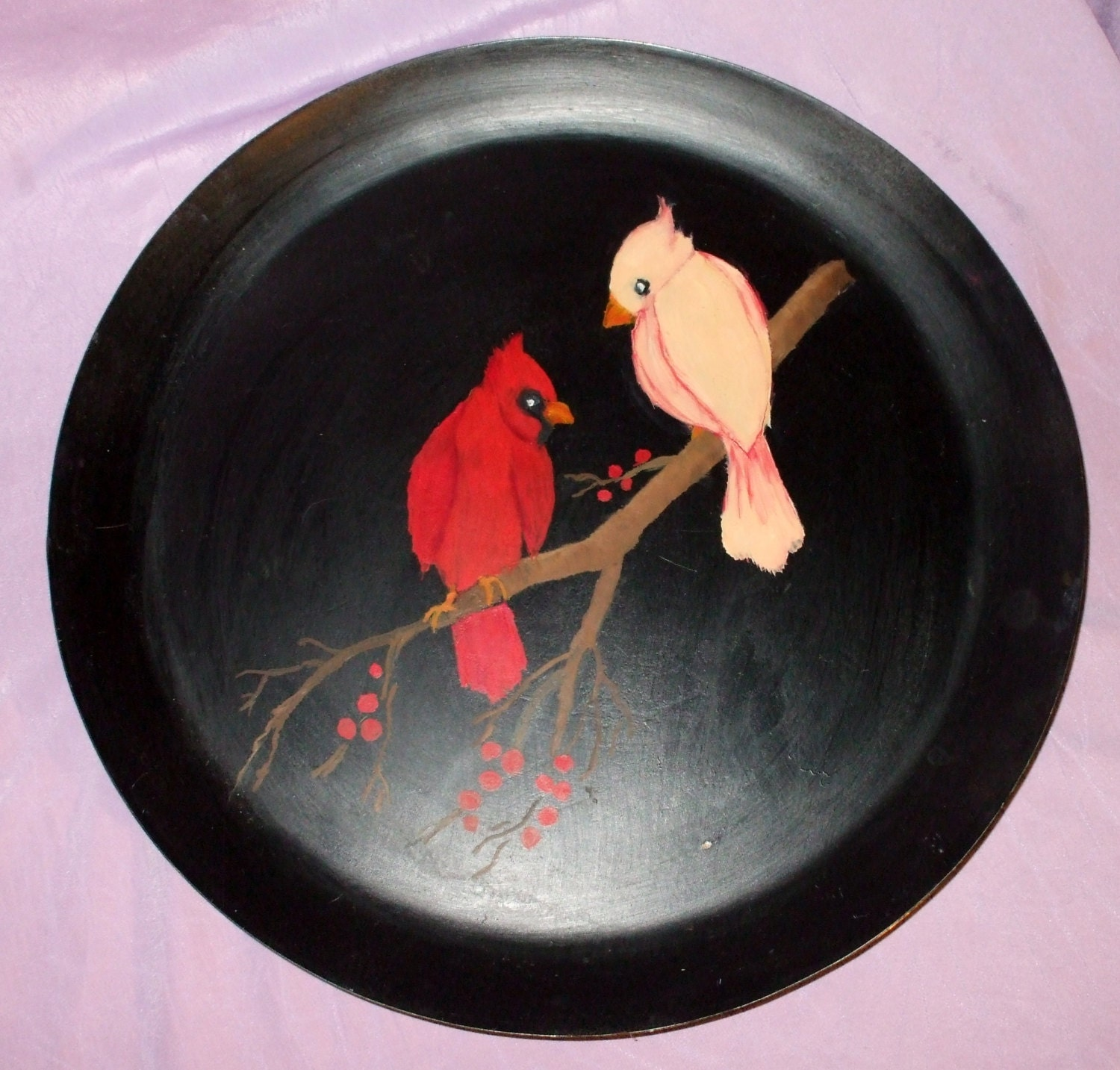 Hand Painted Metal Tray Cardinal Birds Vintage Home Decor