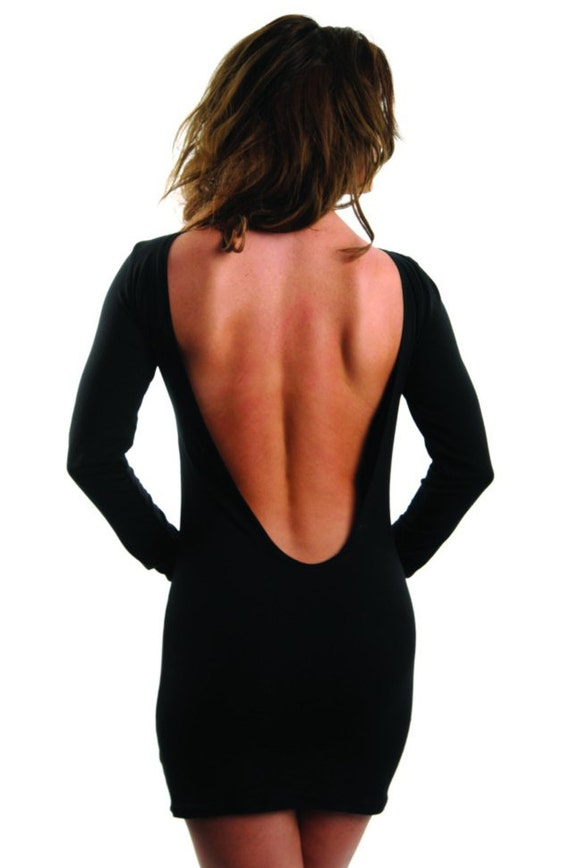 Items similar to Sexy womens ladies low back black party mini long ...